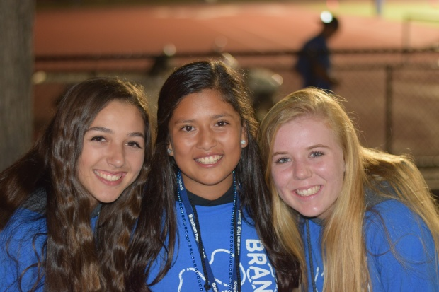Senior Fiorella Castenada and juniors Samantha Esparza and Ashleigh Stubbs kept the energy levels high and had a great time at the game.